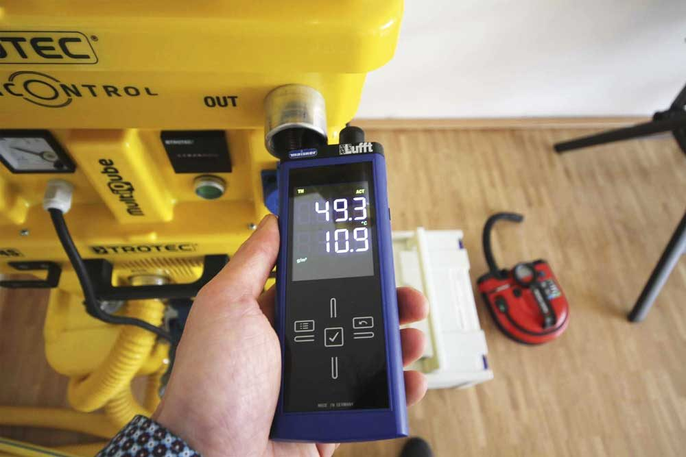 Messung Wassergehalt im Abluftstrom eines Trocknungsgerätes