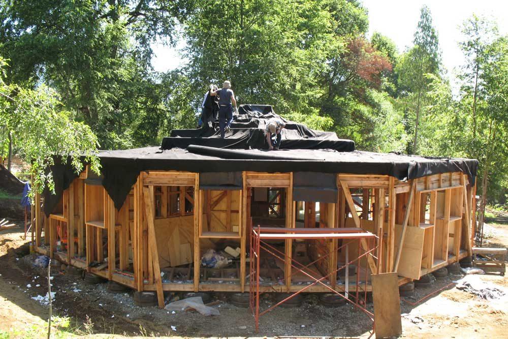 Aufbringen der Dachhaut