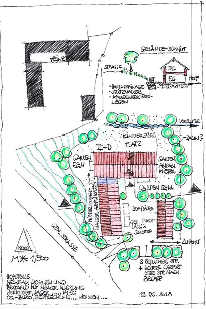 Skizze eines Hofes