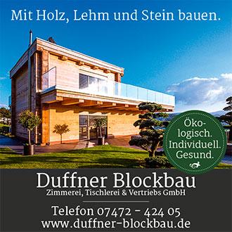 Anzeige Duffner Blockbau