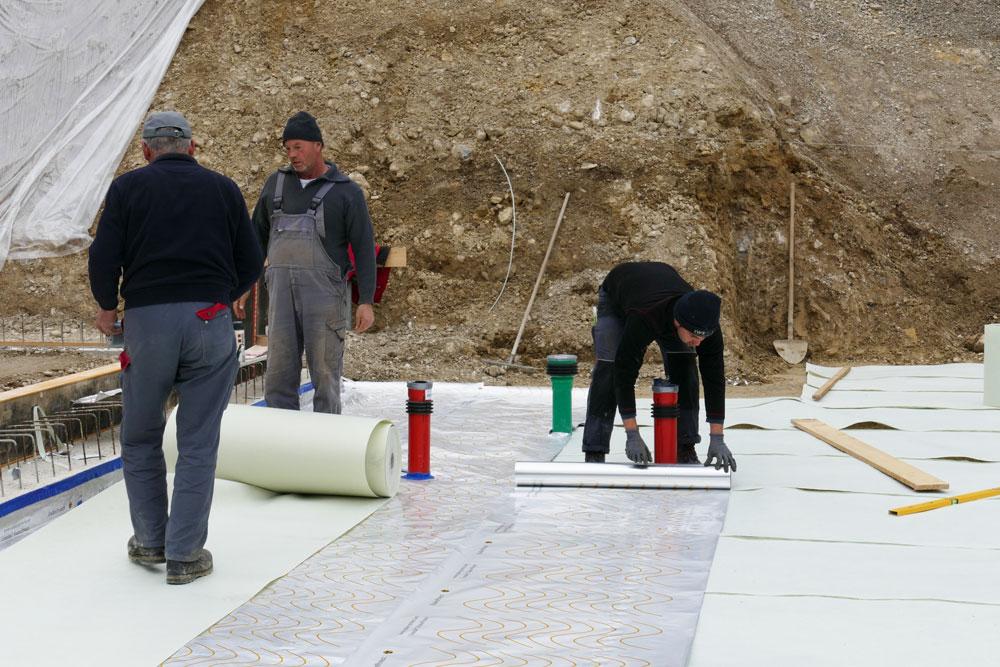 Radon-Schutzfolie Baustelle